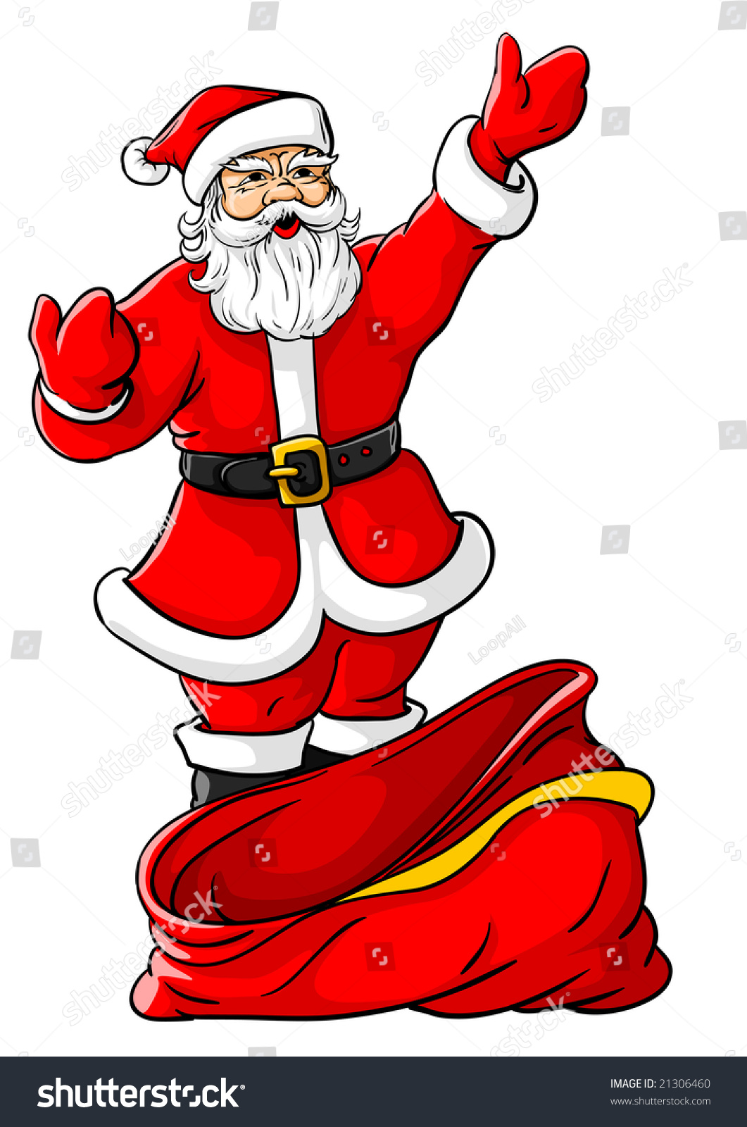 Vector Illustration Of Christmas Santa Claus With Big
