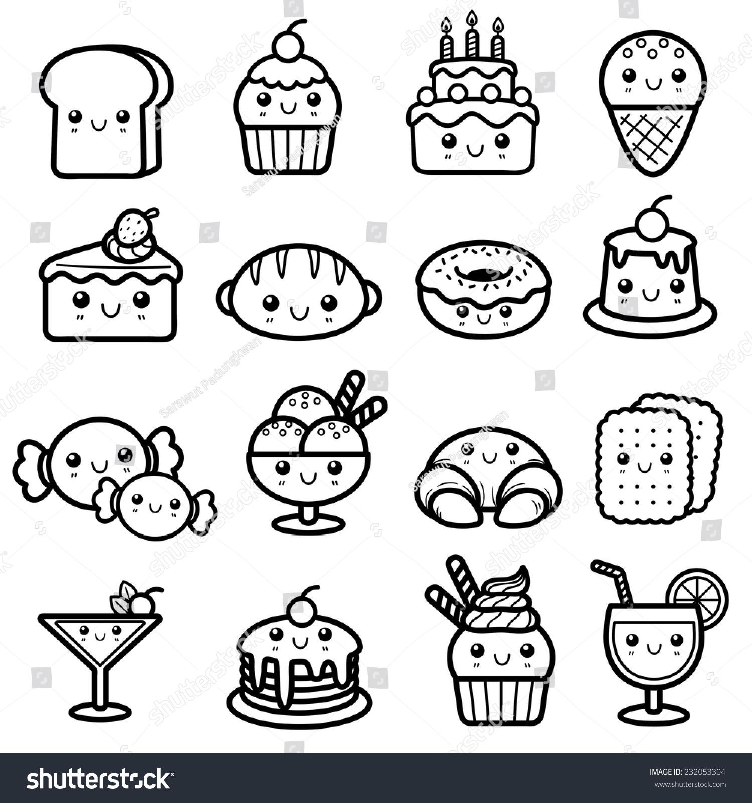 Vector Illustration Dessert Coloring Book Stock Vector