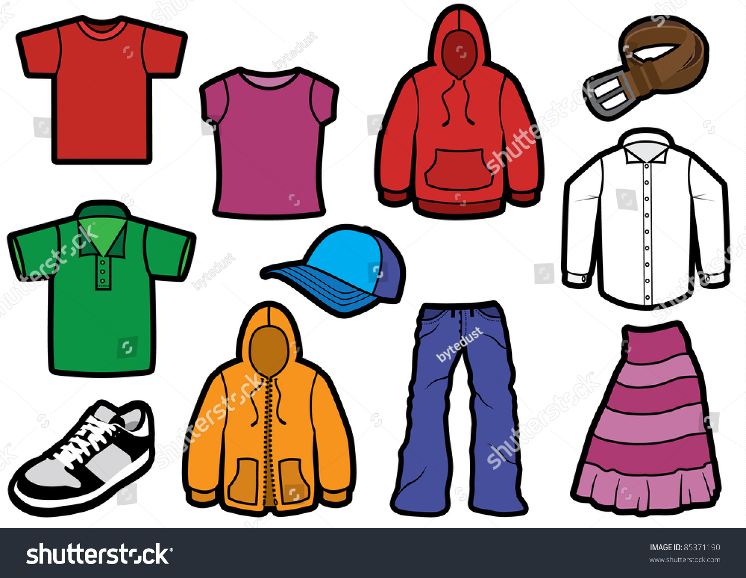 Vector Illustration Eleven Different Clothes Bold Stock