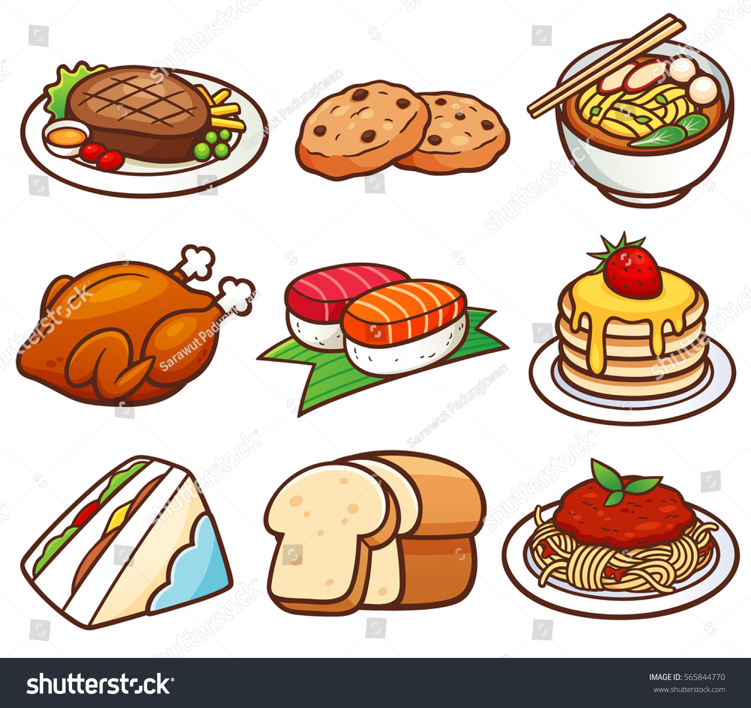 Vector Illustration Food Set Stock Vector