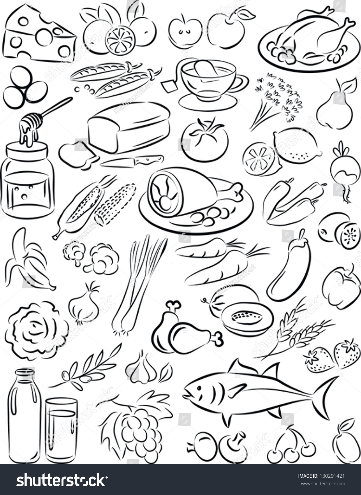 Healthy Foods Worksheet Black And White
