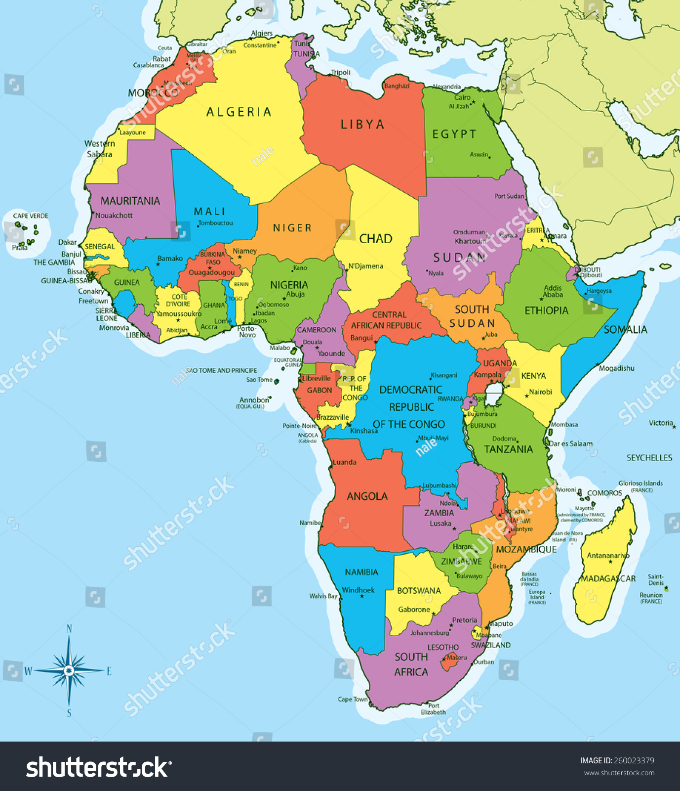 Vector Illustration Of New Africa Map With Countries