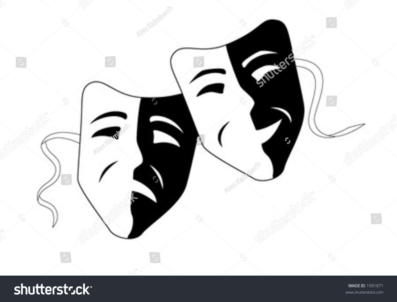 Vector Illustration Of Theater Masks