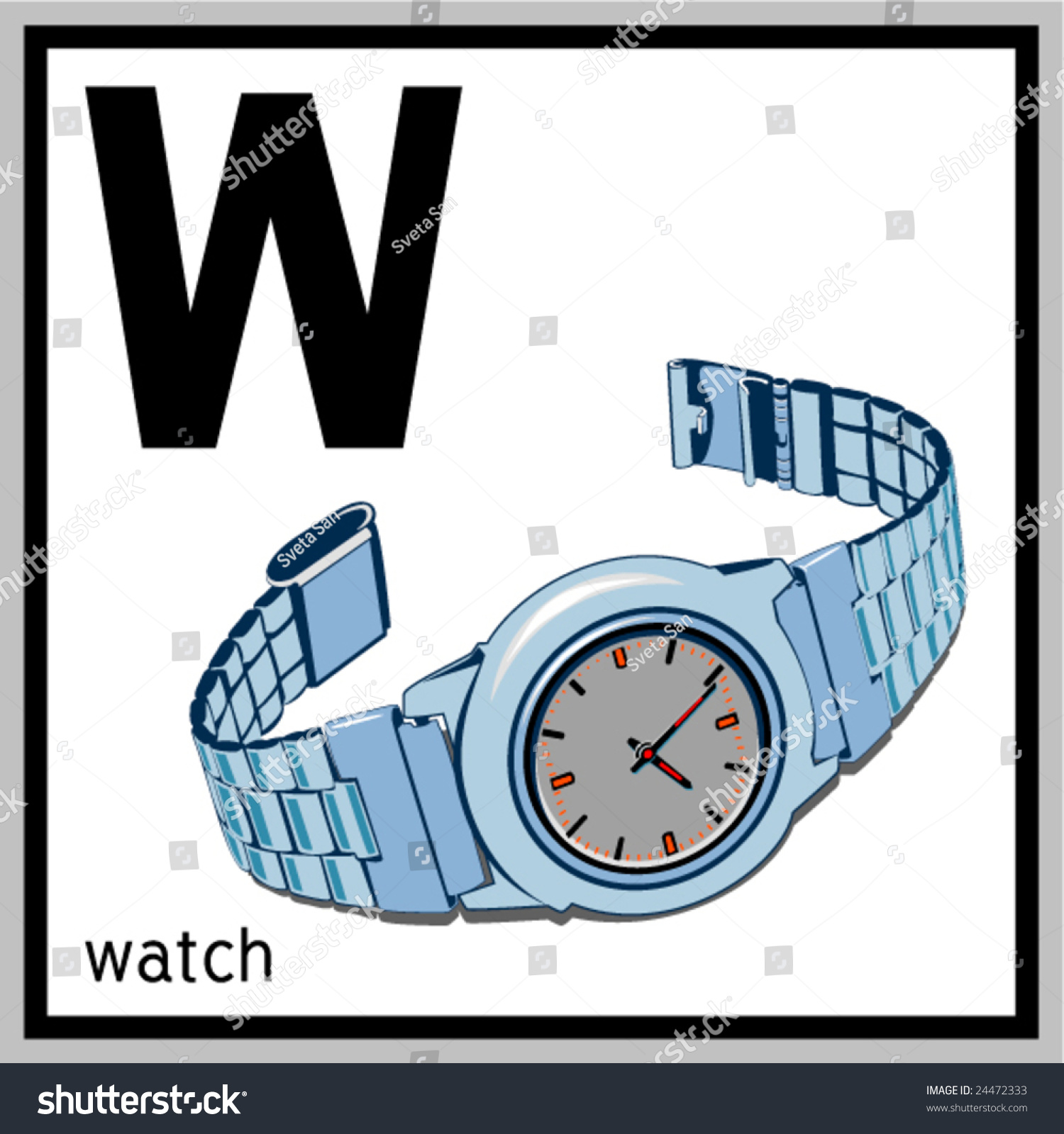 Vector Illustration Of Watch And English Letter W Does