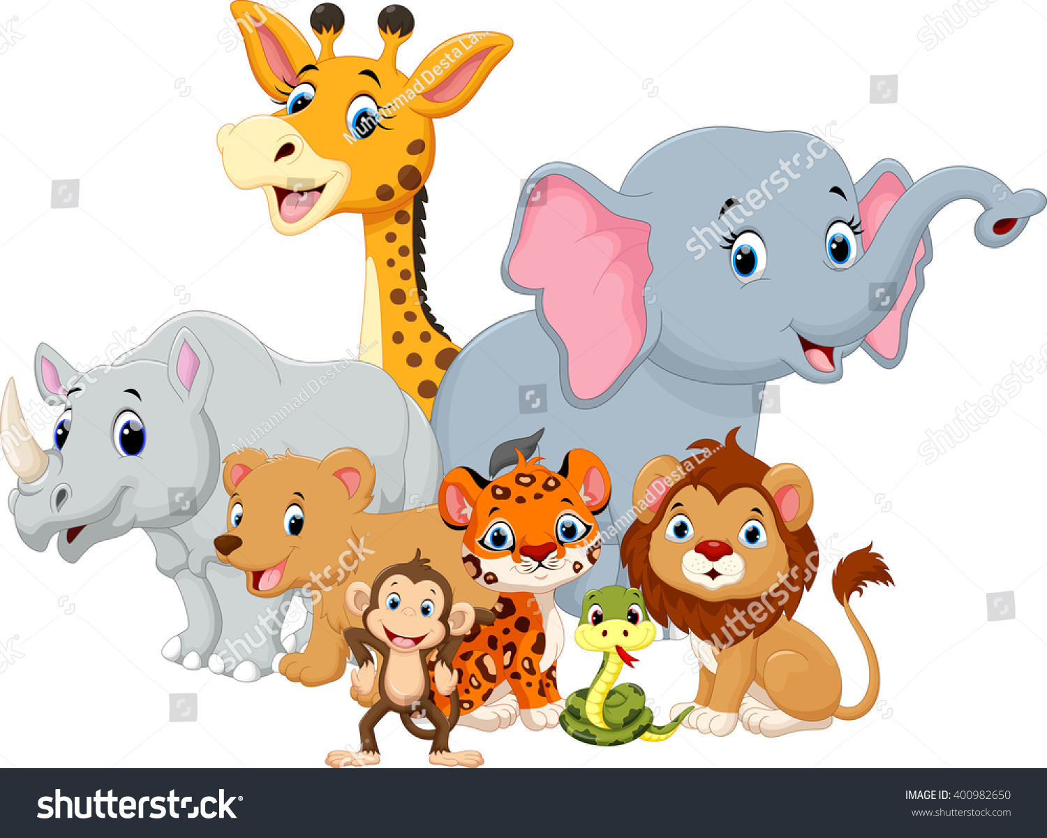 Vector illustration of Wild Animal cartoon Ad ,