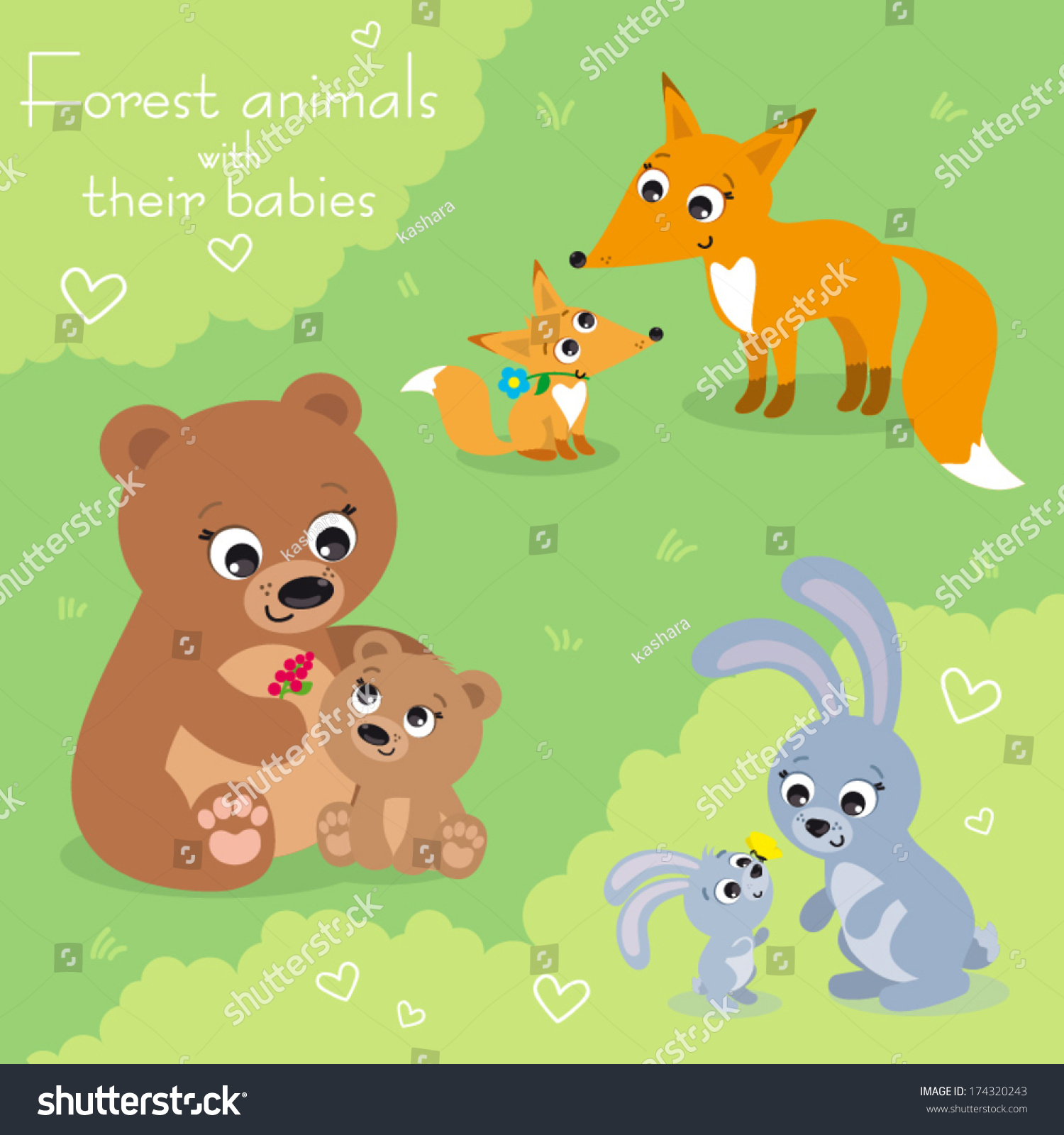 Vector Illustration Set Forest Animals Their Stock Vector