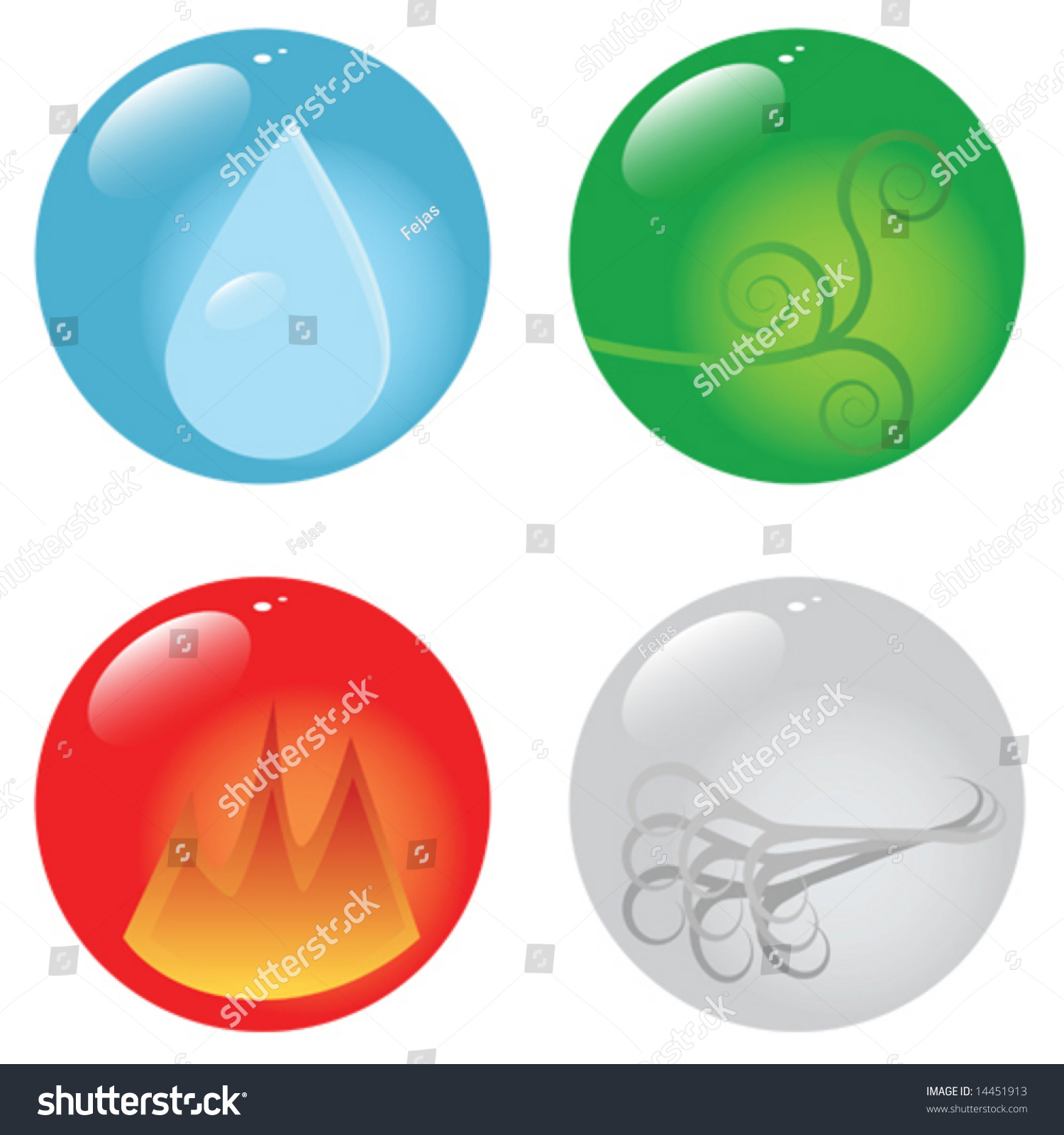 Vector Illustration Spheres Showing Four Basic Stock