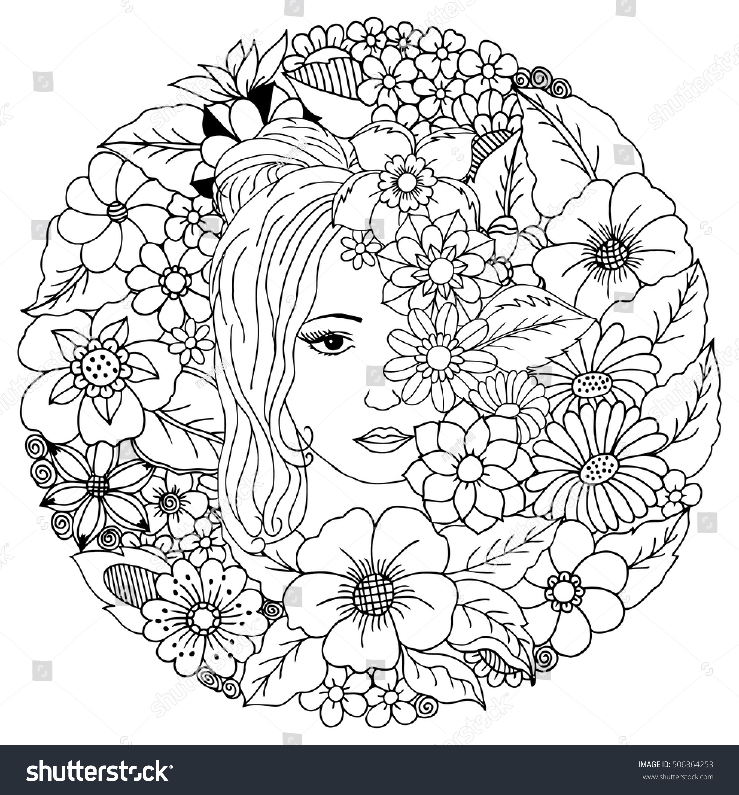 Vector Illustration Zentangl Girl Among Flowers Stock