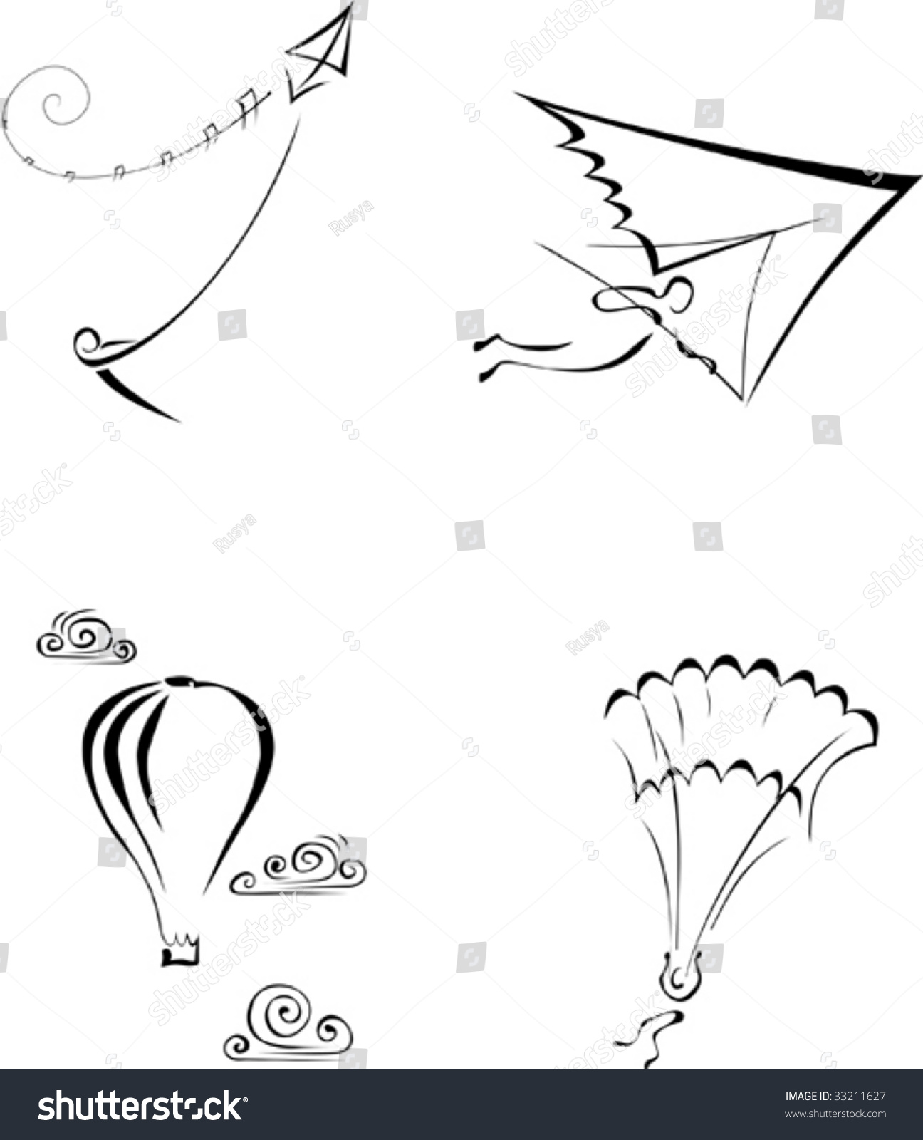 Vector Linear Monochrome Illustration Wind Sports Stock
