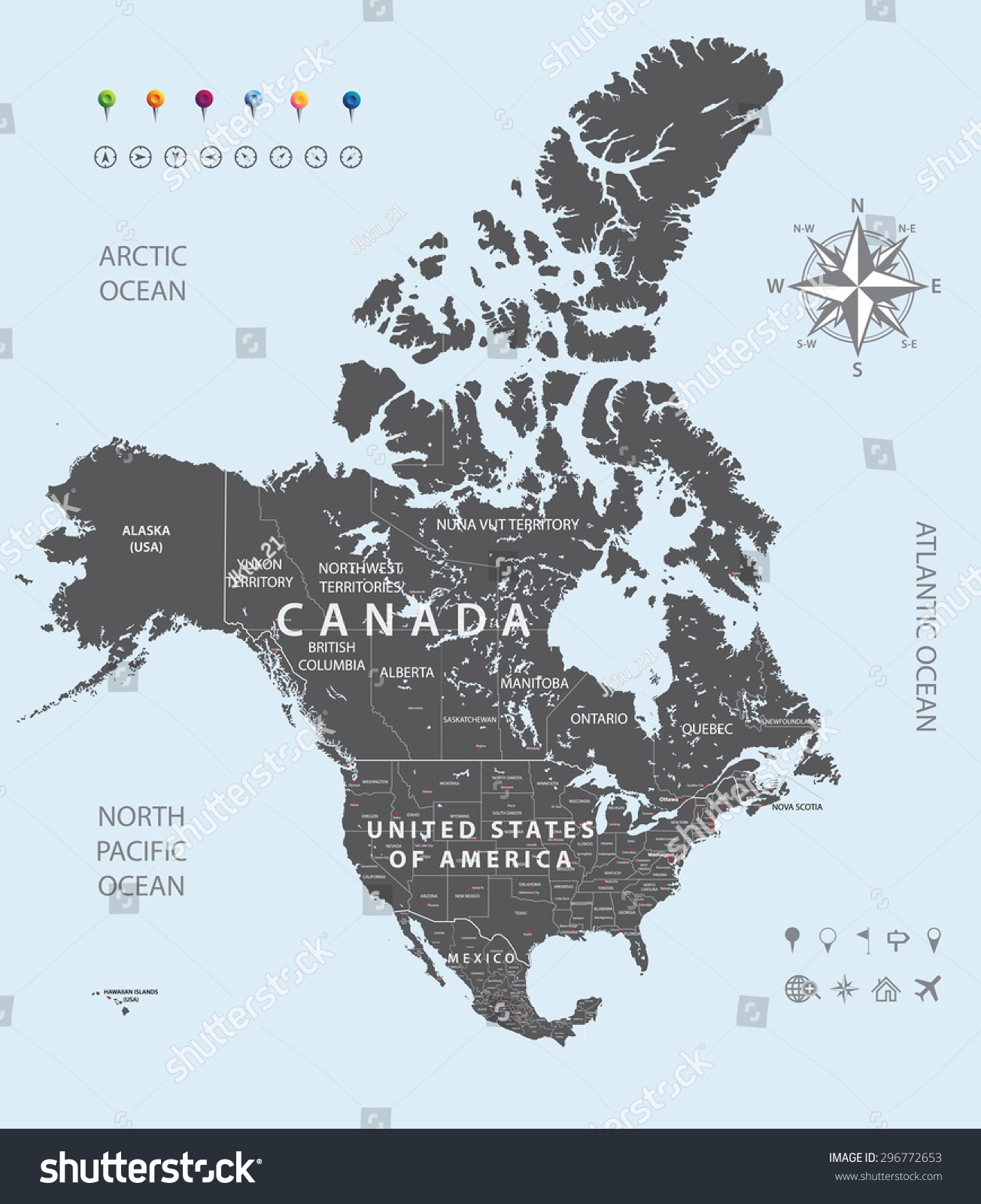 Vector Map Canada United States Mexico Stock Vector Royalty Free 296772653