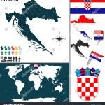 Vector Map Croatia Regions Coat Arms Stock Vector Royalty Free 193537085