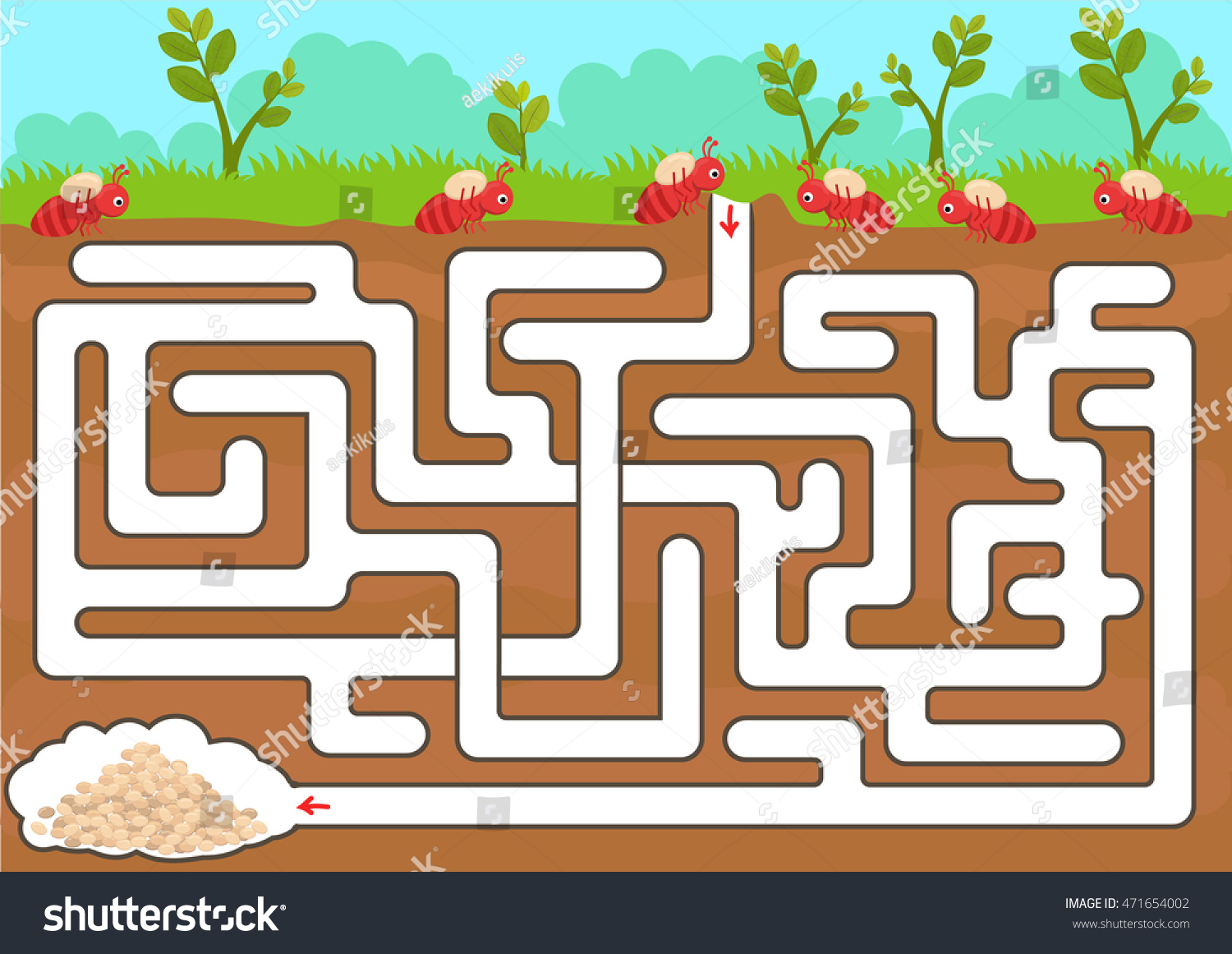 Vector Maze Game Find Ant Room Stock Vector
