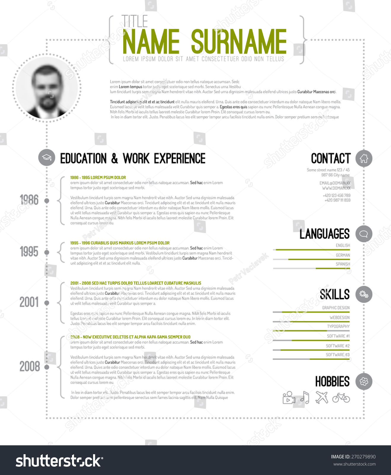 vector minimalist cv resume template with timeline green version