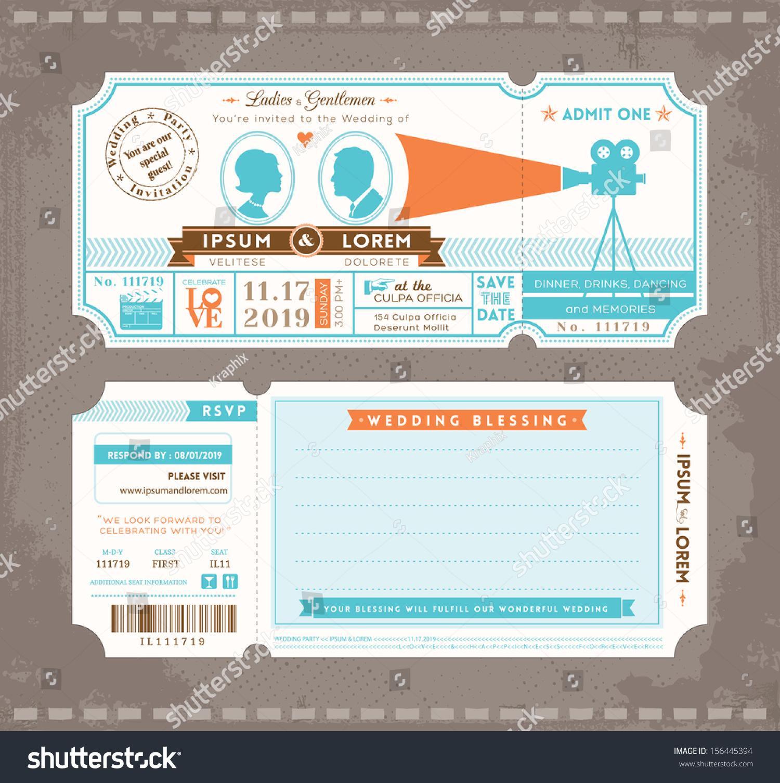 wedding design stock photo image sample movie ticket template – Movie Ticket Invitations Printable Free