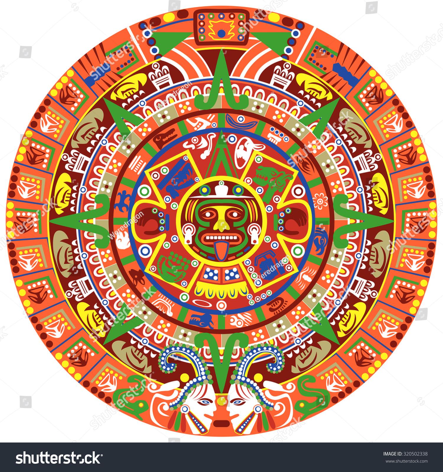 Vector Of Aztec Calendar On White Background