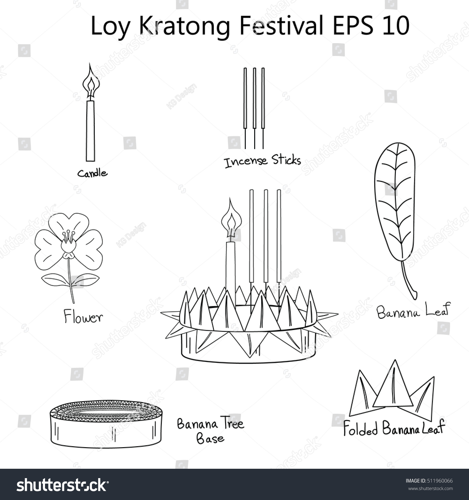 Vector Outline Drawing How Make Kratong Stock Vector
