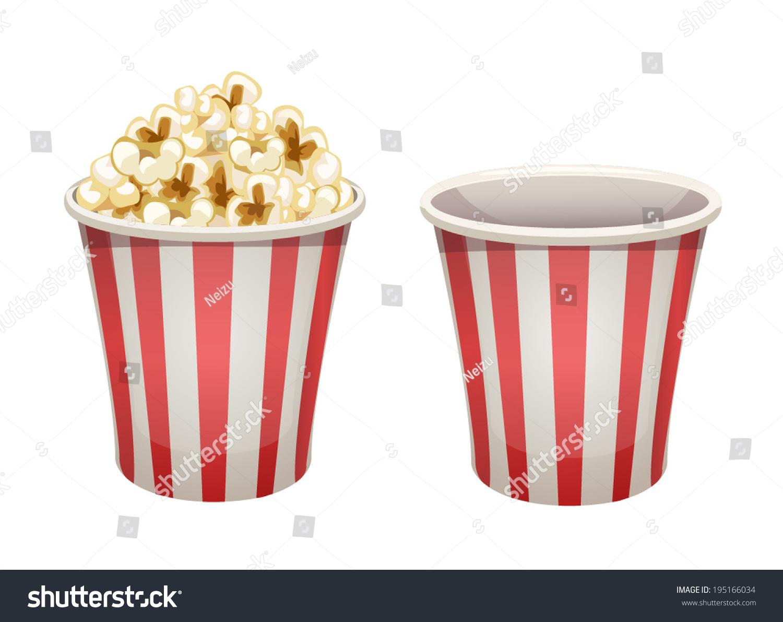 Vector Popcorn Bucket Isolated Full And Empty
