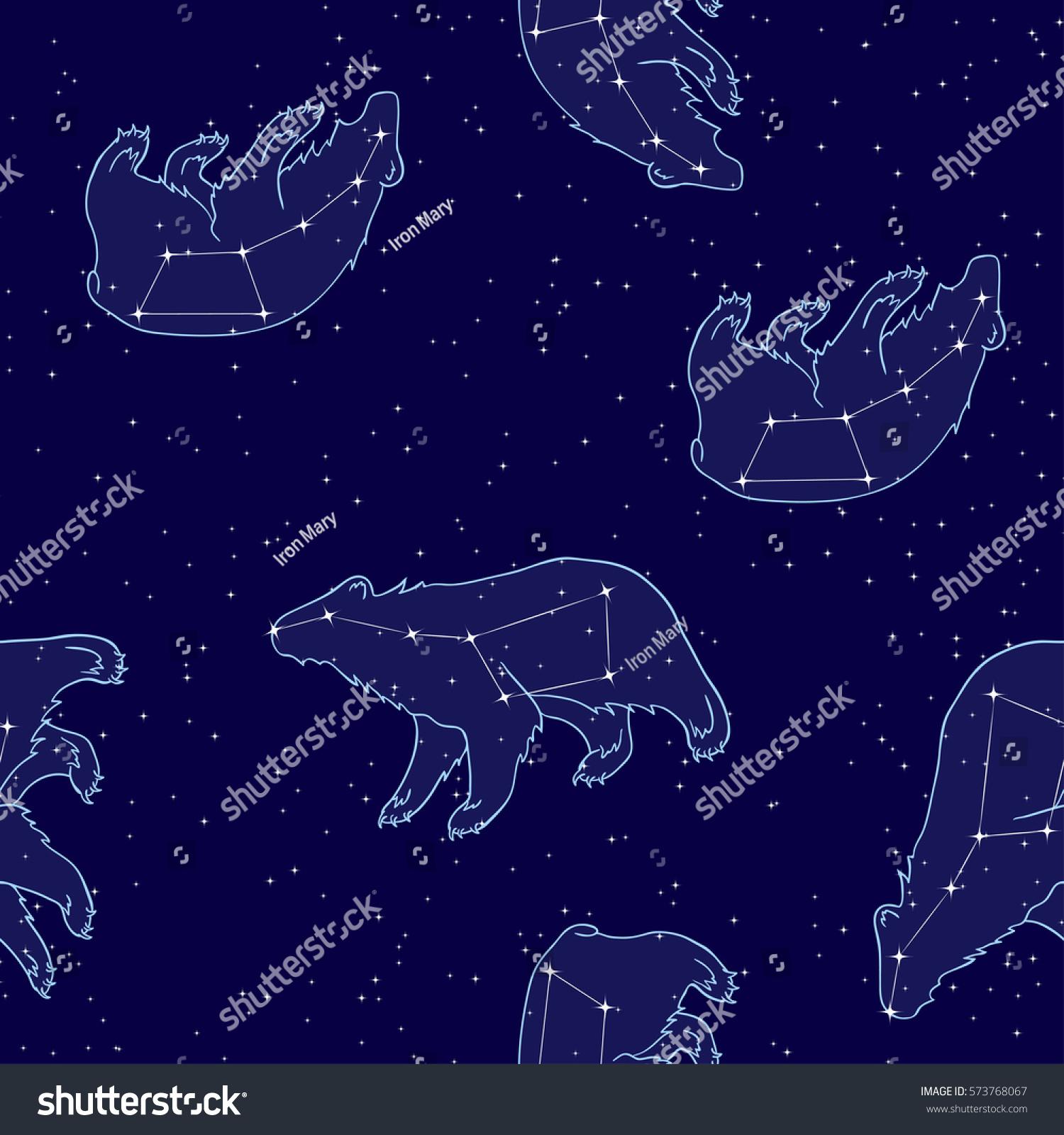 Vector Seamless Pattern Constellations Night Star Stock