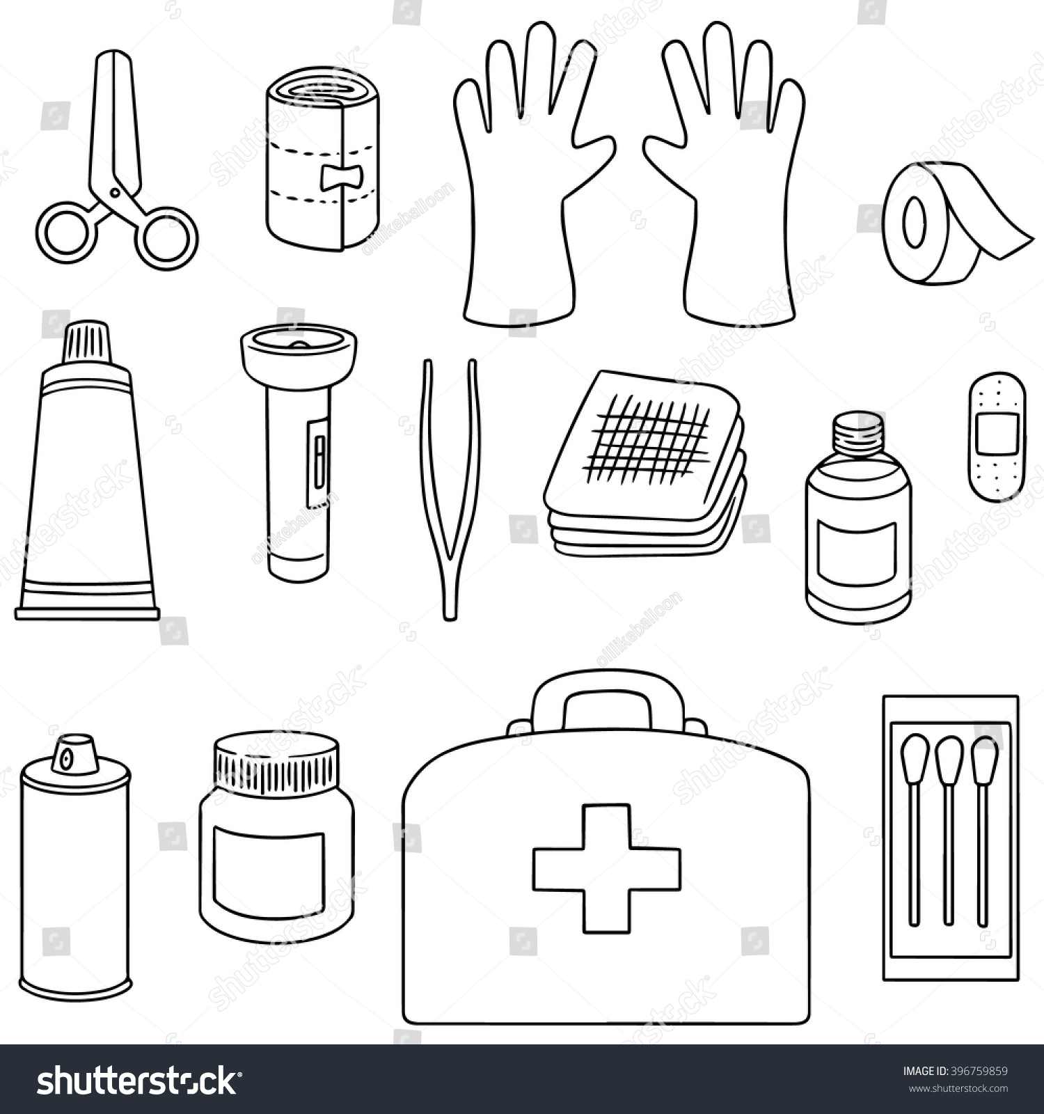 Vector Set First Aid Kit Stock Vector