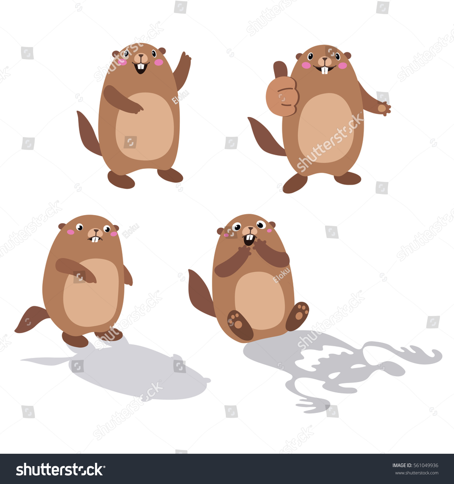 Vector Set Groundhog His Shadow Without Stock Vector