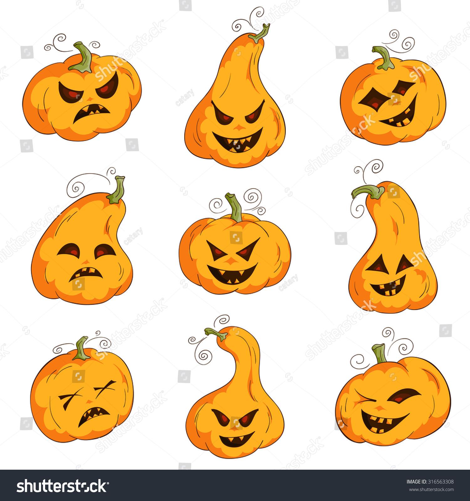 Vector Set Pumpkin Different Emotions Happy Stock Vector