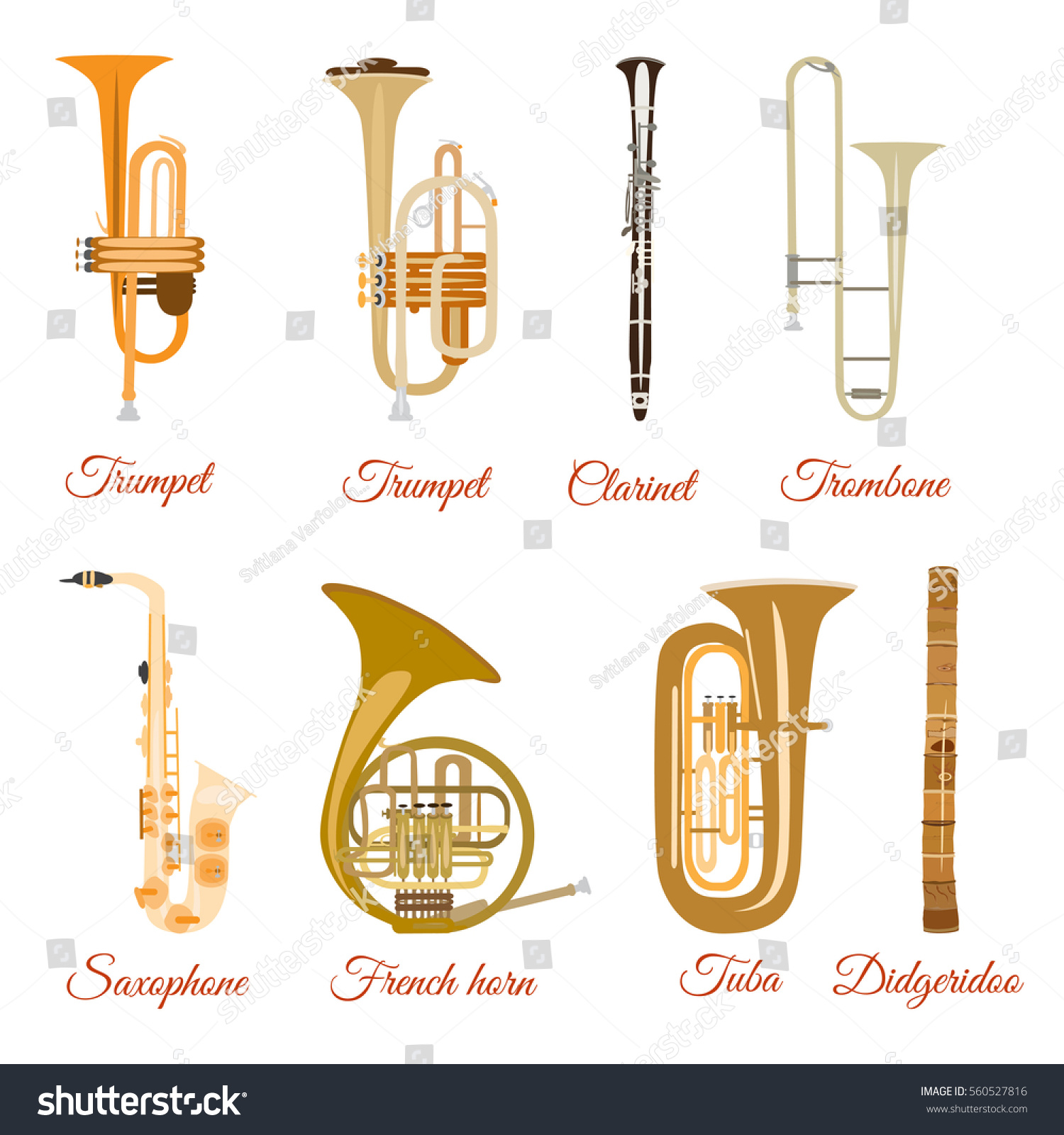 Vector Set Wind Musical Instruments Saxophone Stock Vector