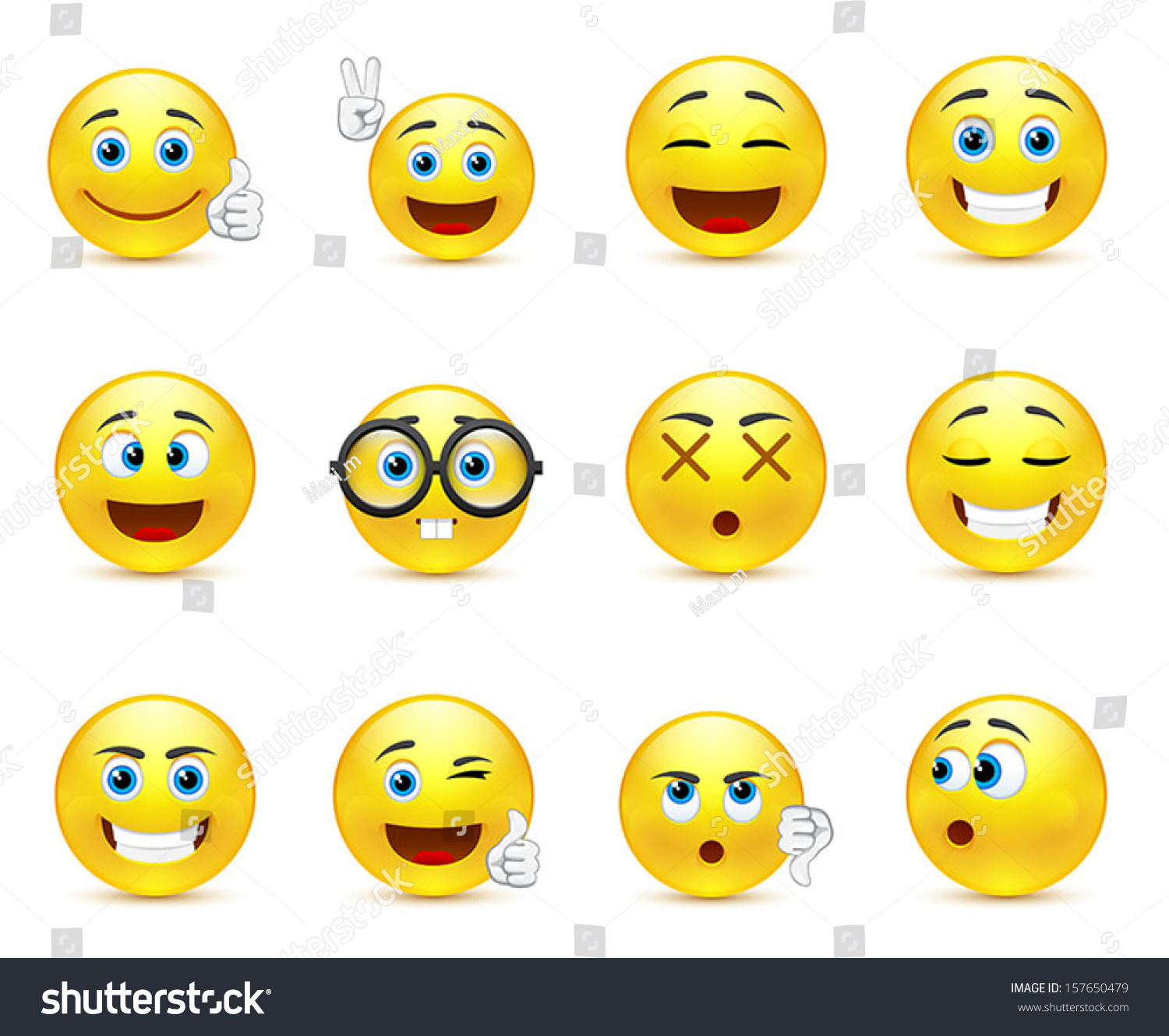 Vector Set Smiley Faces Expressing Different Stock Vector