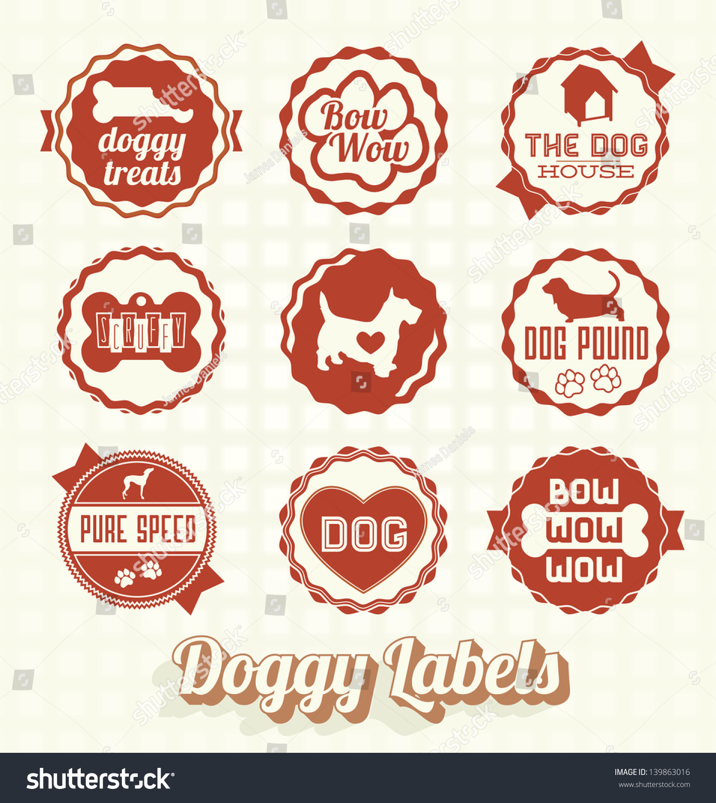 Vector Set Vintage Pet Doggy Labels Stock Vector
