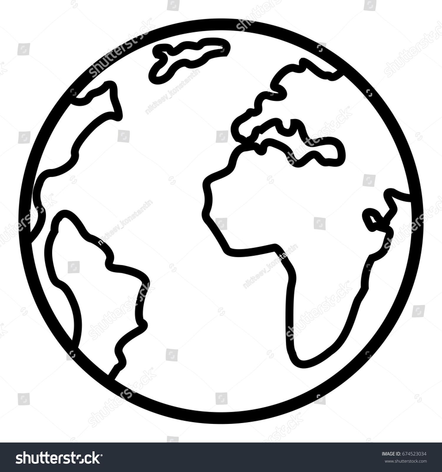 Vector Single Basic Outline Icon Globe Stock Vector