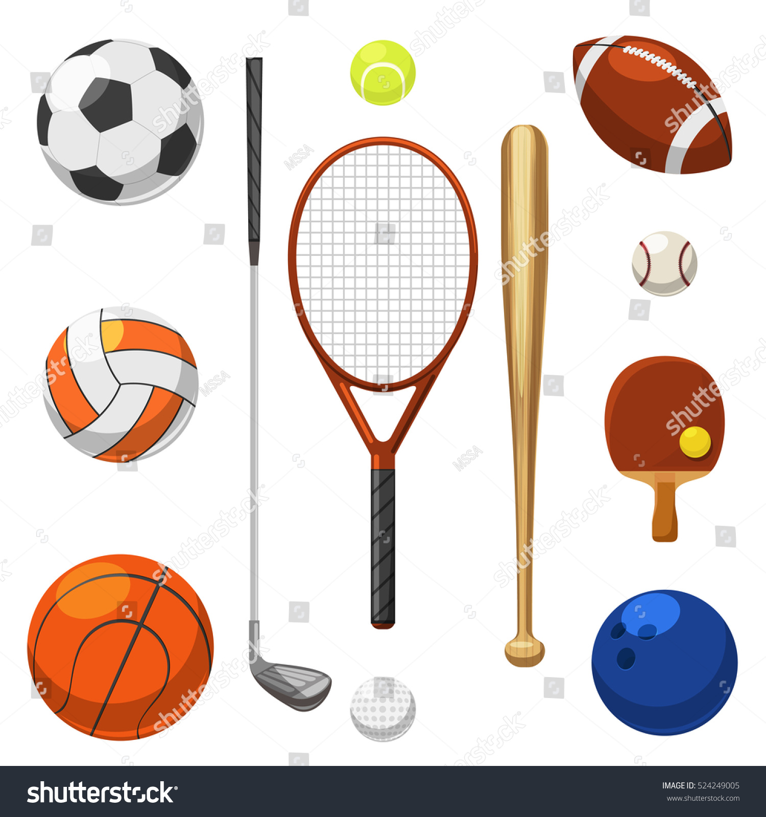 Vector Sport Equipment Icons Sports Exercises Stock Vector