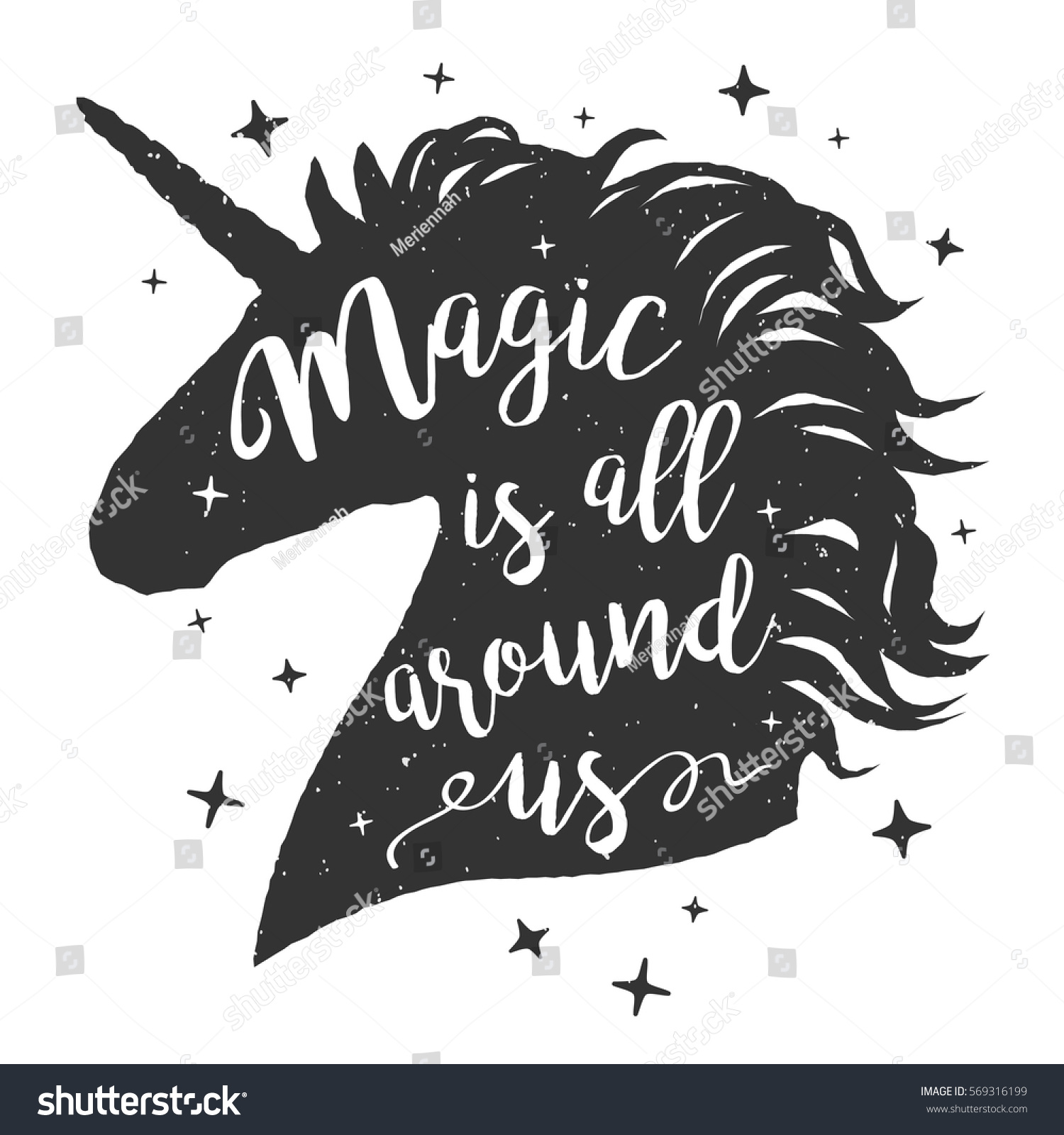 Vector Unicorn Head Silhouette Text Inspirational Stock