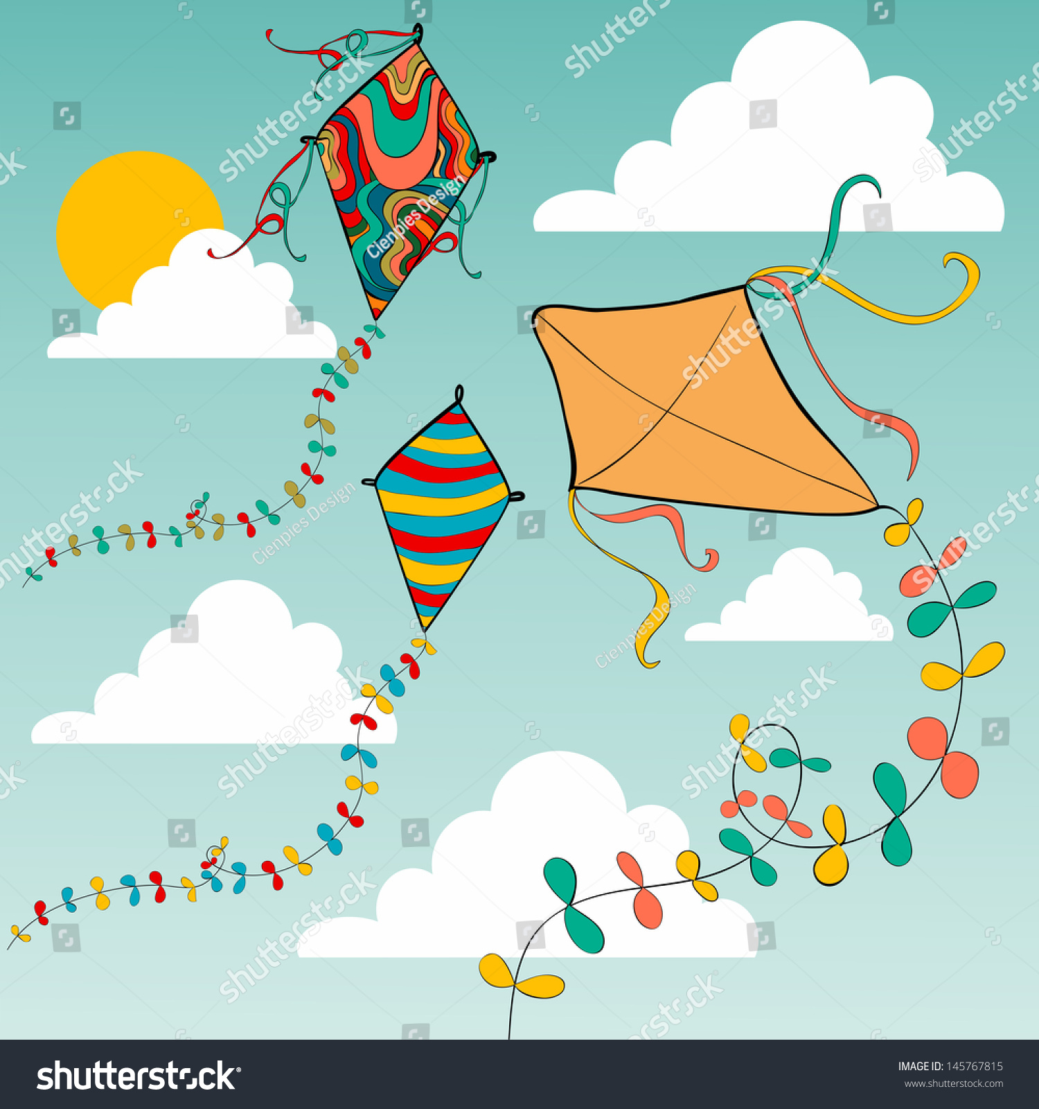Vibrant Colors Spring Flying Kites In The Sky Vector