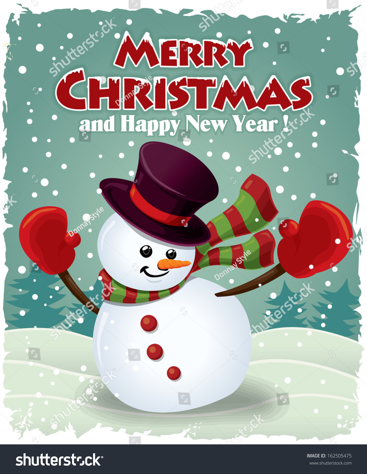 Vintage Christmas Poster Design With Snowman Stock Vector