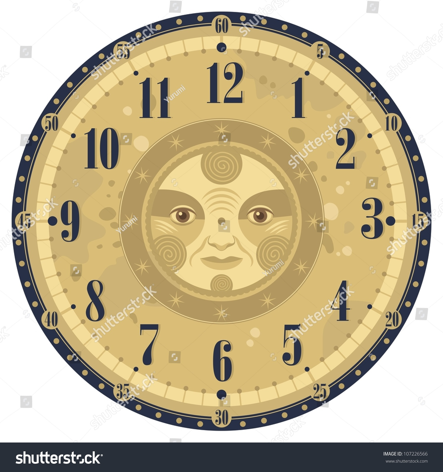 Vintage Clock Face Template With Decorative Sun Stock Vector Illustration Shutterstock