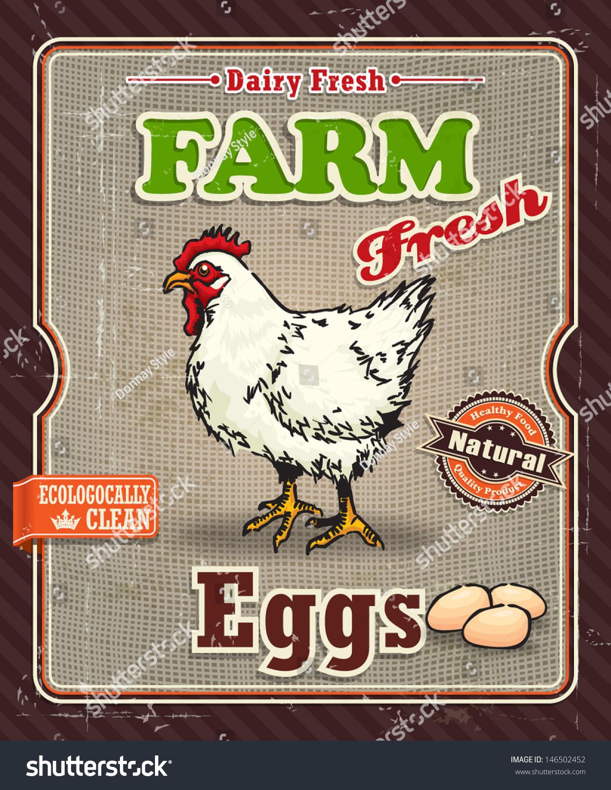 Vintage Farm Fresh Chicken Egg Label Stock Vector