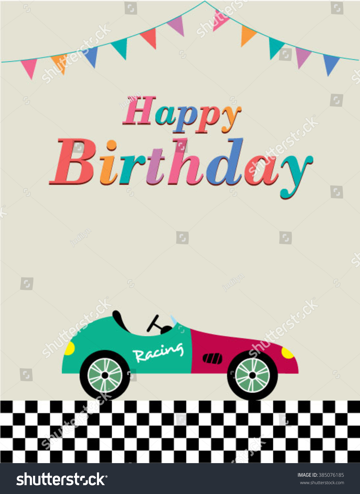 Vintage Race Car Happy Birthday Greeting Stock Vector Royalty Free 385076185
