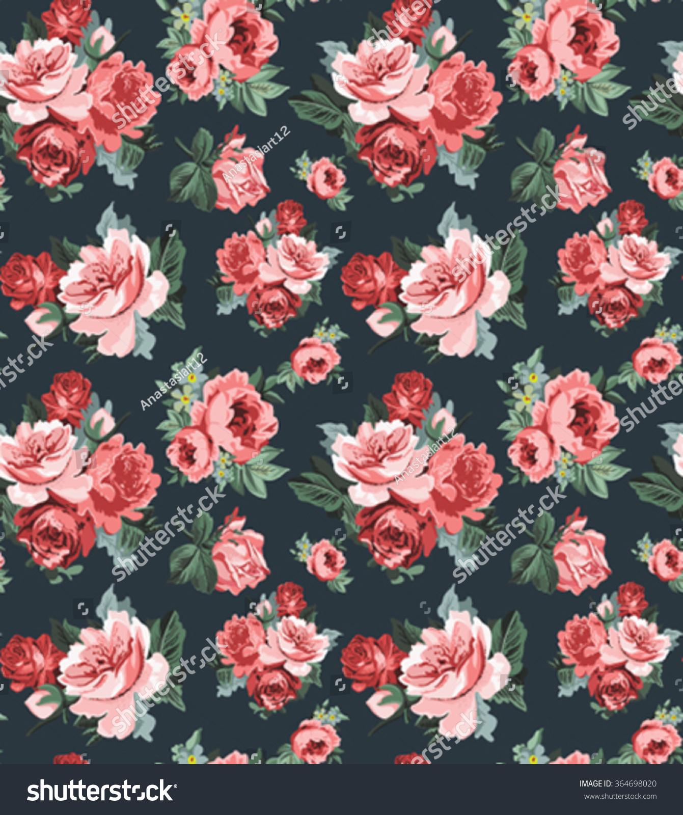 Vintage Rose Wallpaper Repeat Stock Vector Royalty Free 364698020