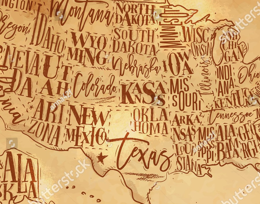 HD Decor Images » Vintage Usa Map States Inscription California Stock Vector  Royalty     Vintage usa map with states inscription california  florida  washington   texas  new york