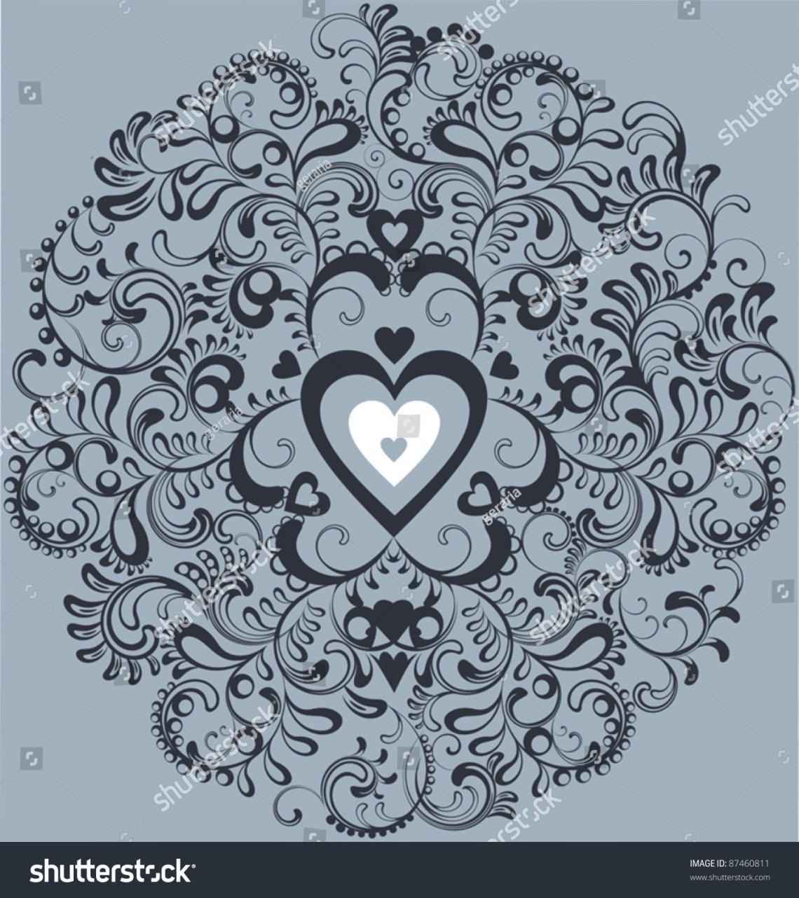 Download Vintage White Heart Ornamental Flourish Circle Stock ...