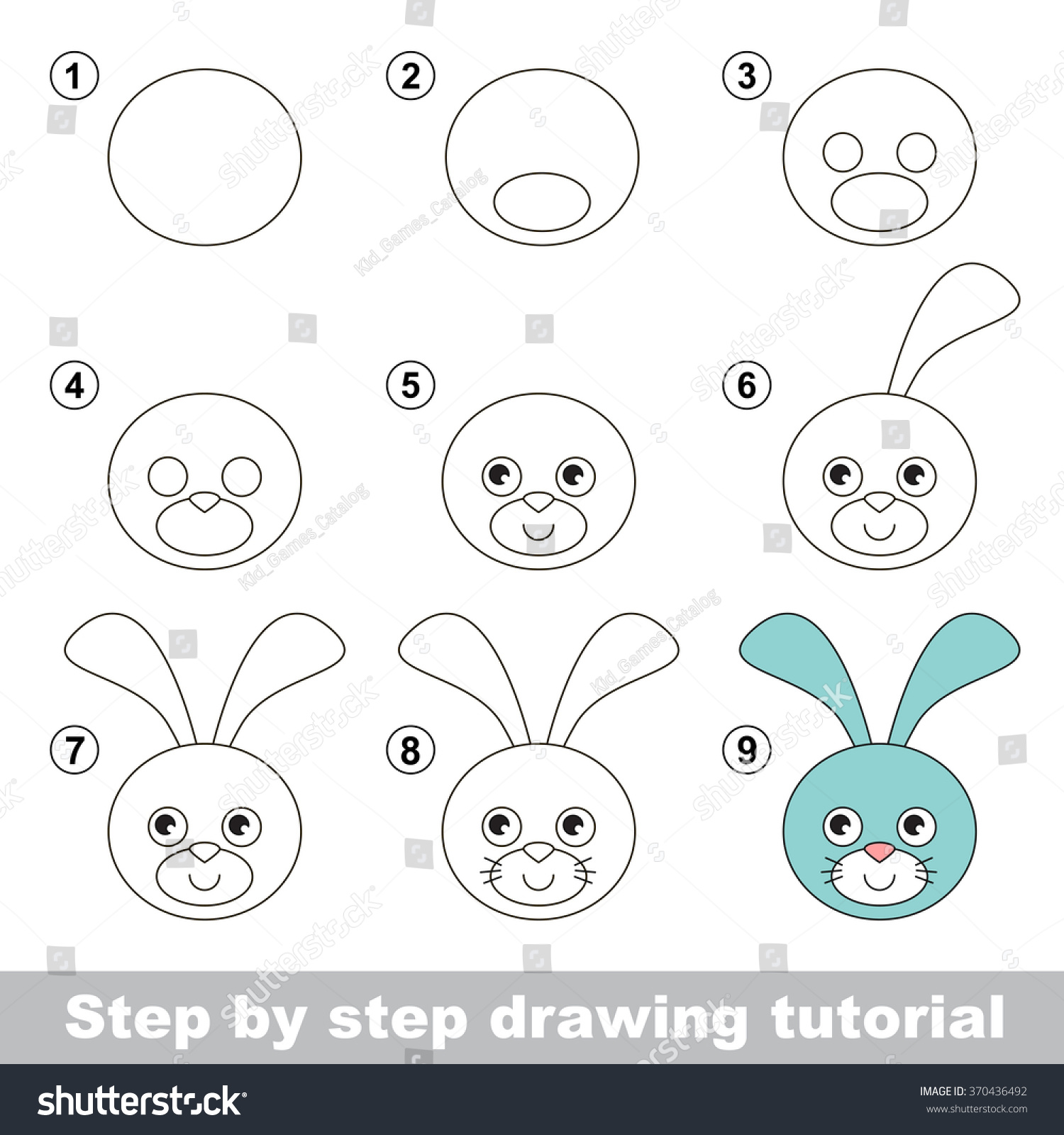 Visual Game Kids How Draw Hare Stock Vector
