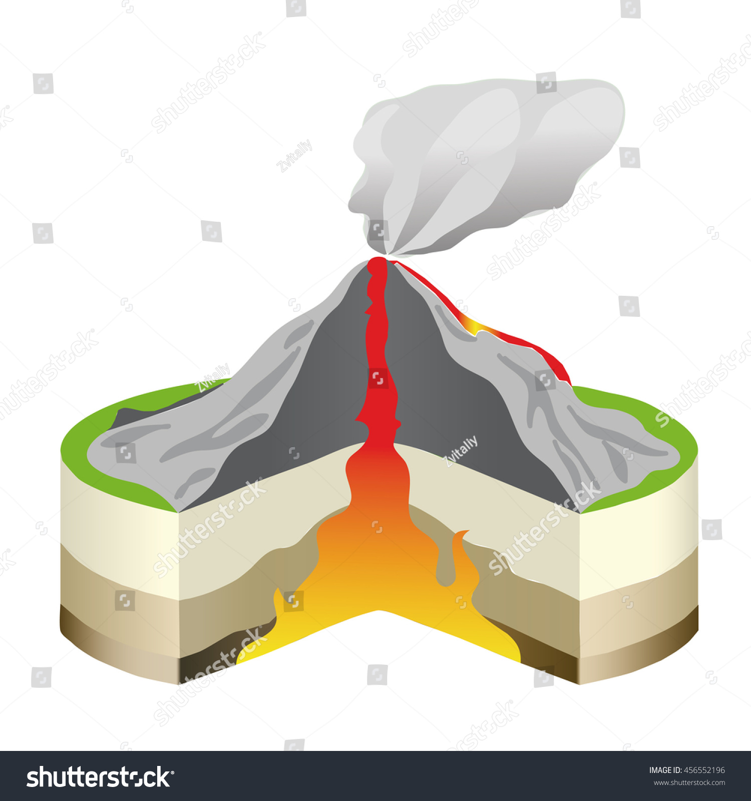 Volcano Eruption Cross Section Isolated Vector Stock