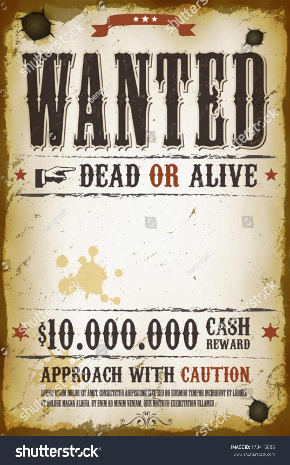 Wanted Vintage Western Poster Stock Vector 173416886 Shutterstock