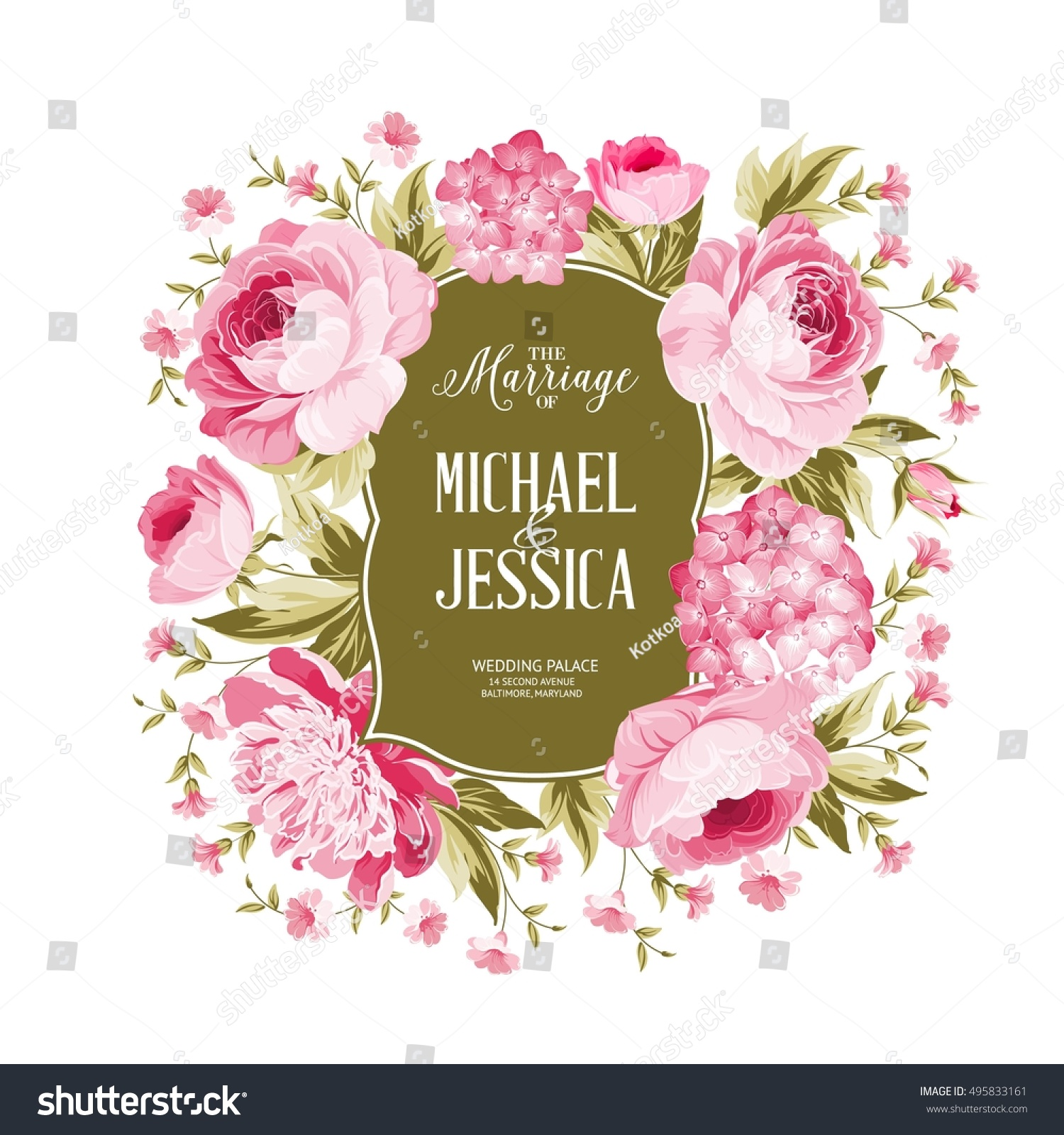 Wedding Card Blooming Flowers Isolated Over