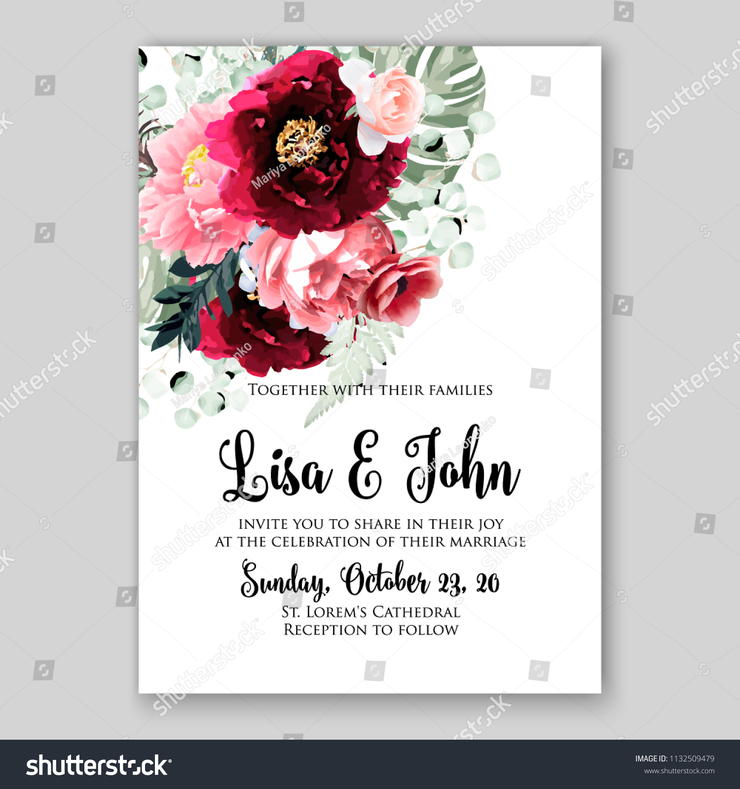 https www shutterstock com image vector wedding invitation card flower burgundy peony 1132509479
