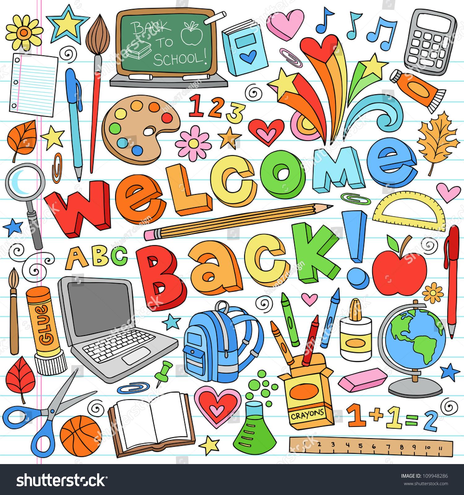 Welcome Back School Classroom Supplies Notebook Stock