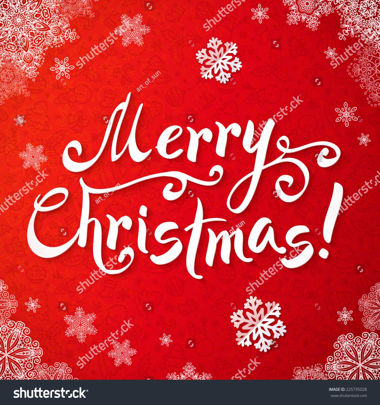 White Merry Christmas Handwriting Lettering On Stock