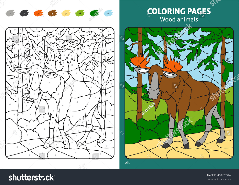 Wood Animals Coloring Page Kids Elk Stock Vector