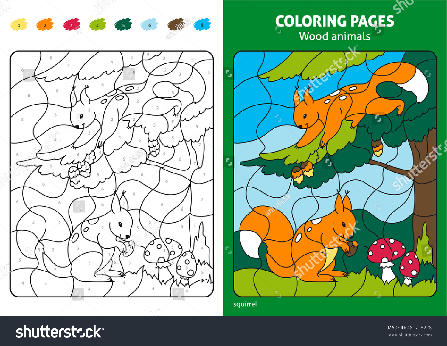 Wood Animals Coloring Page Kids Squirrels Stock Vector