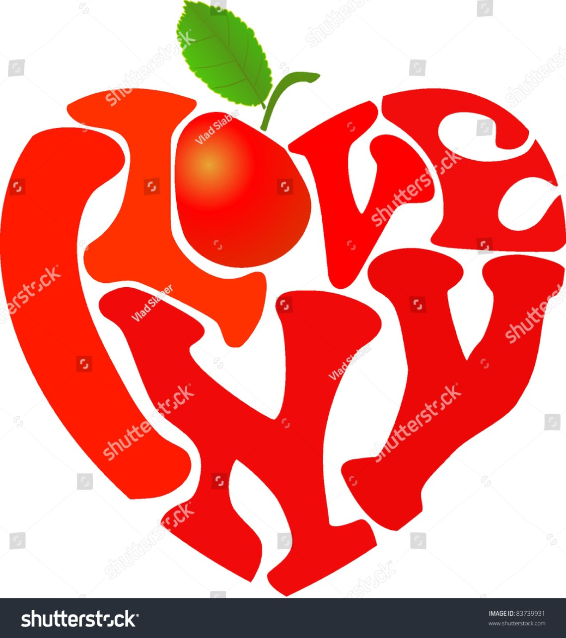 """Download Words """"I Love Ny"""" And Apple Shaped In Heart Symbol Stock ..."""