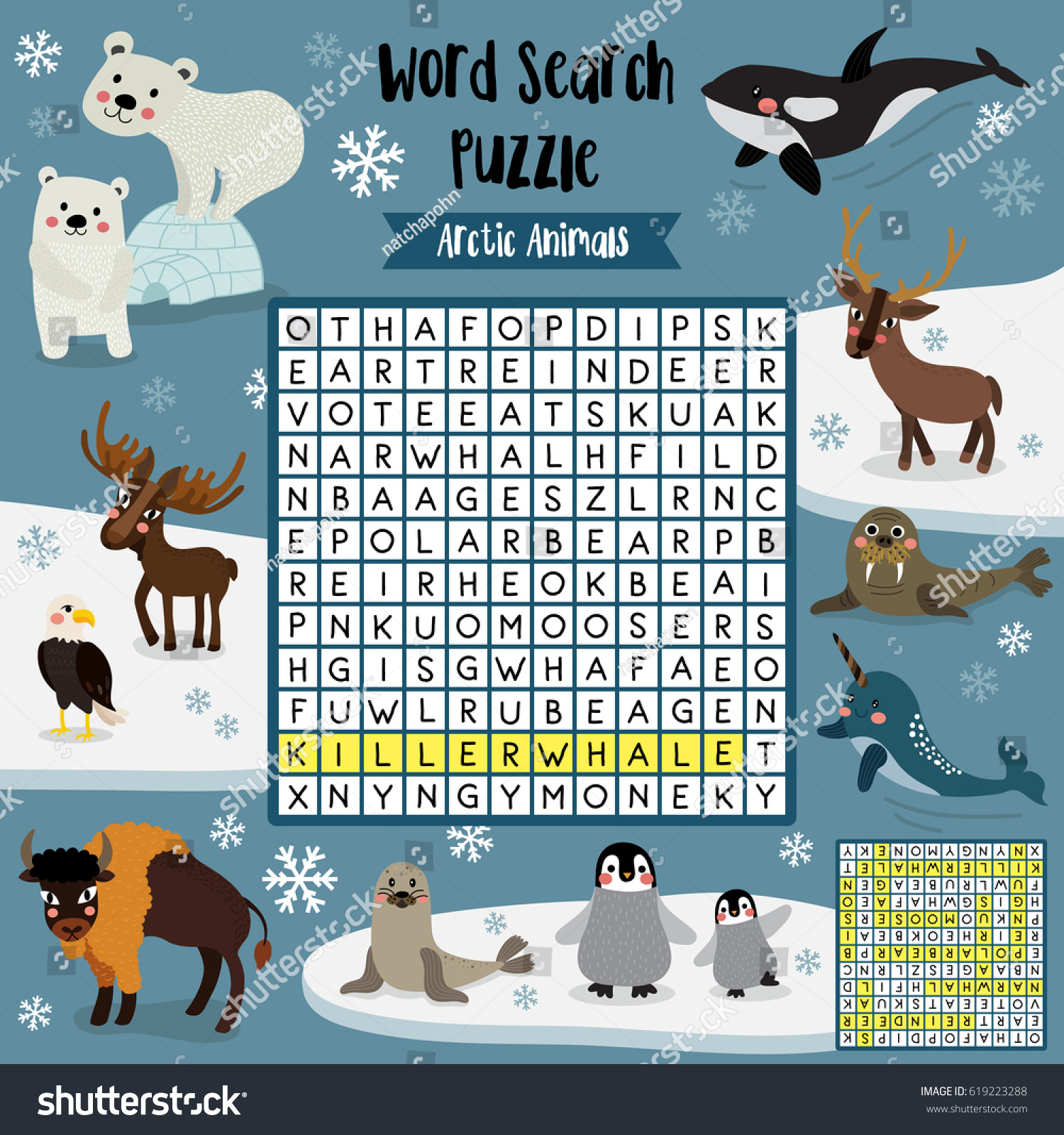 Words Search Puzzle Game Arctic Animals Stock Vector
